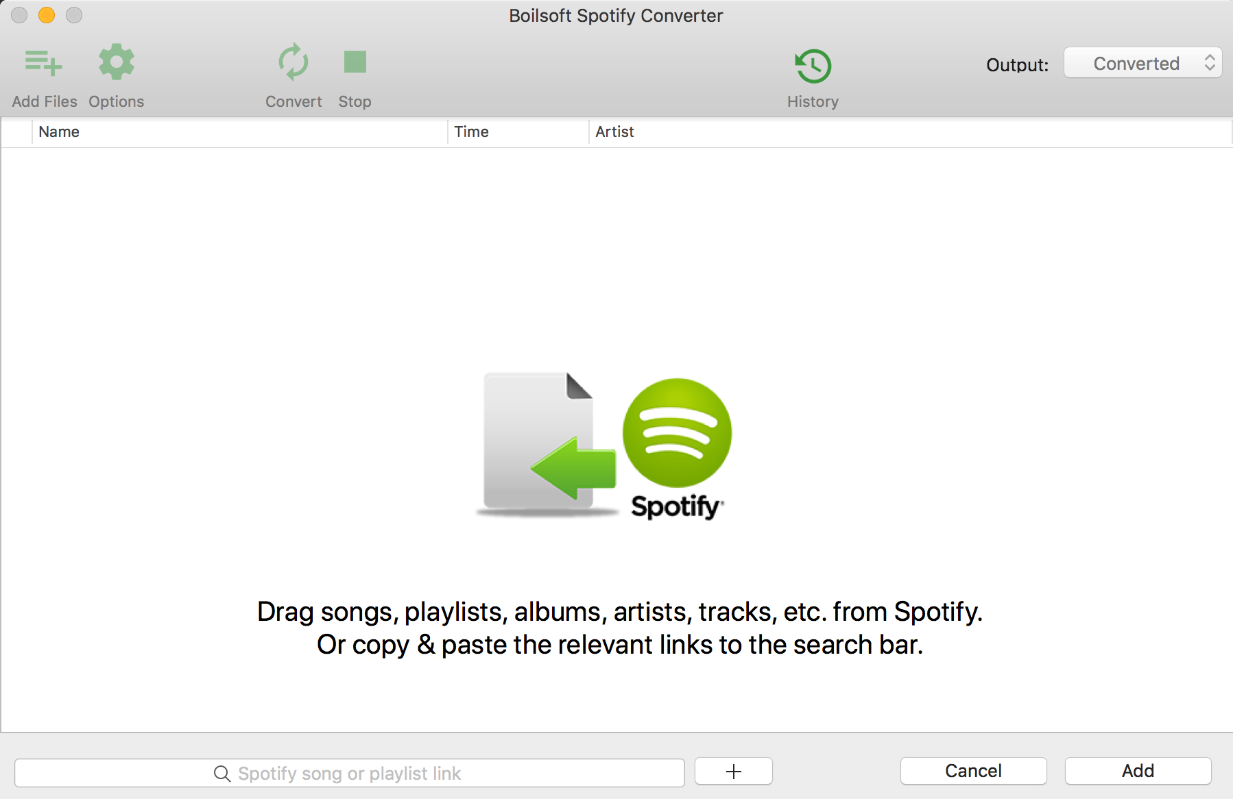 add spotify music